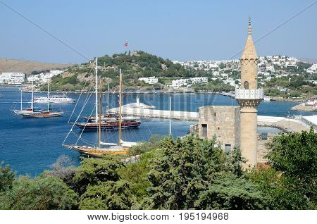 Port And Mosque In Bodrum, Turkey