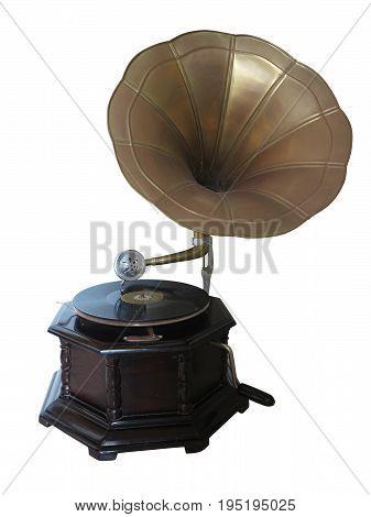 Vintage retro gramophone isolated on white background