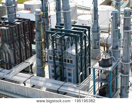 Refinery pipelines constructions chemical industrial plant concept