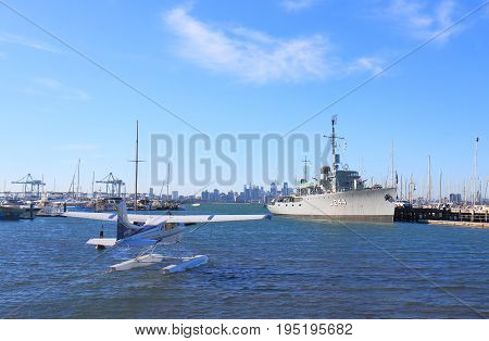 MELBOURNE AUSTRALIA - JULY 1, 2017: HMAS Castlemaine war ship museum and seaplane in Williamstown.