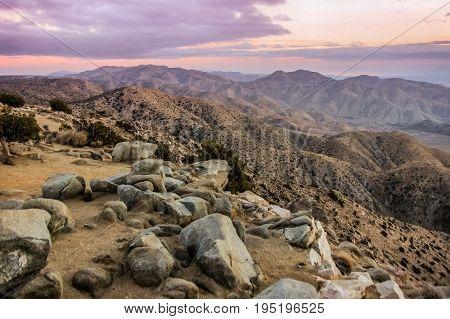 Keys View Sunset. Joshua Tree National Park, California, USA.