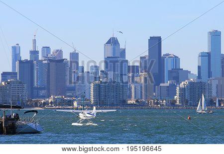 Seaplane Melbourne downtown office building cityscape Australia