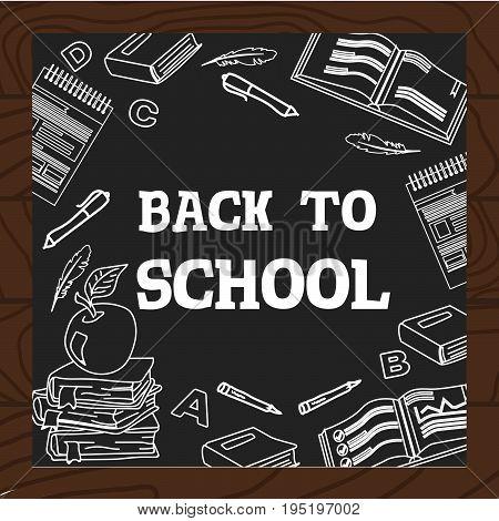 Chalkboard Wooden Background School English Literature Study Icons Vector Illustration.