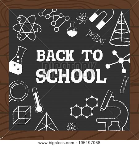 Chalkboard Wooden Background School Science Icons Vector Illustration.
