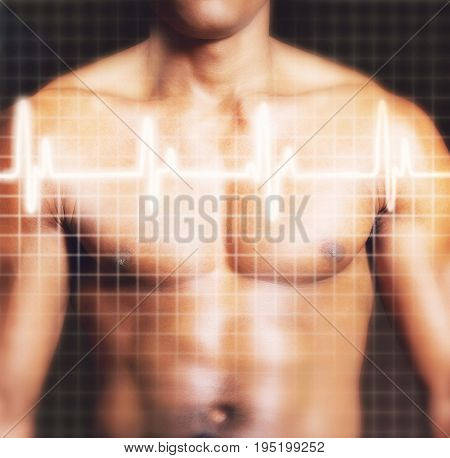 Midsection of shirtless man with electrocardiogram graph superimposed on chest