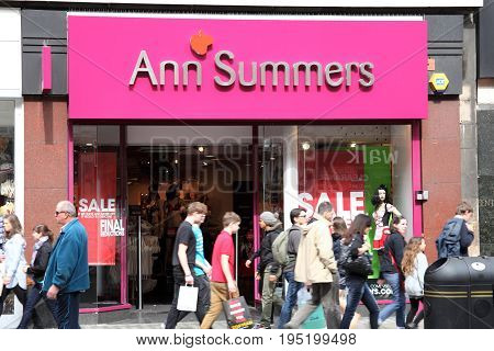 London, UK, April 2, 2011 :  Exterior of  Anne Summers store in Oxford Street showing a seasonal sale