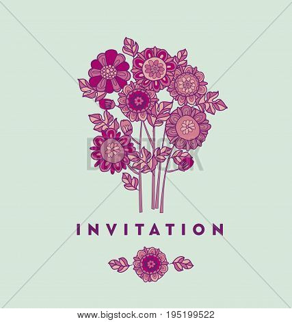 merygold flower card template design. aster floral decorative vector illustration. fall blossom in violet colors motif. autumn flowers rustic peasant style element