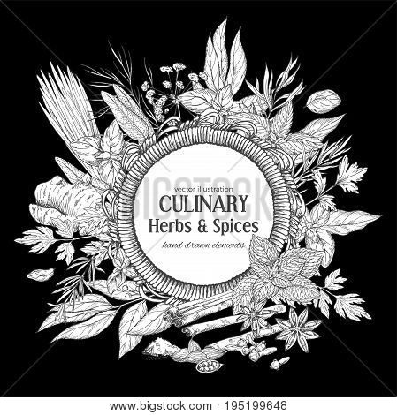 Round rope frame surrounded by culinary herbs and spices on black background, vector illustration
