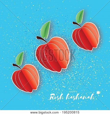 Jewish New Year, Rosh Hashanah. Red Apple with leaf in Paper cut style. Holiday. Vector illustration