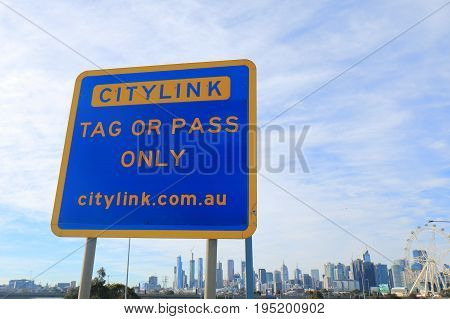 MELBOURNE AUSTRALIA - JULY 2, 2017: Citylink motorway entrance sign. Citylink connects Melbourne Airport and downtown Melbourne.