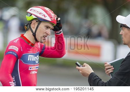 Minsk Belarus-July 8 2017: Professional Road Cyclist Evgeny Korolek Poses as a Winner of the International Road Cycling Competition Grand Prix Minsk-2017 on July 8 2017 in Minsk Republic of Belarus.