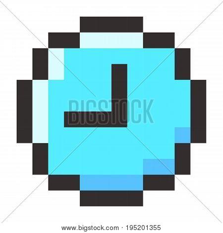Pixel clock time watch retro icon set