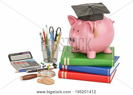 Back to school concept. Piggy bank with stationery 3D rendering