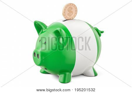 Piggy bank with flag of Nigeria and golden dollar coin. Investments and business concept 3D rendering