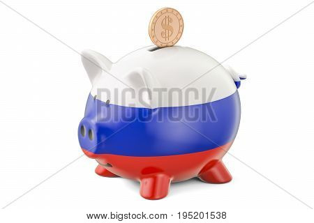 Piggy bank with flag of Russia and golden dollar coin. Investments and business concept 3D rendering