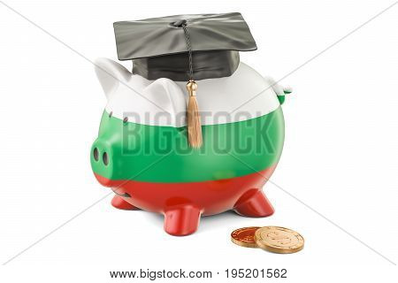 Savings for education in Bulgaria concept 3D rendering isolated on white background