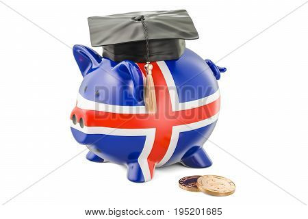 Savings for education in Iceland concept 3D rendering isolated on white background