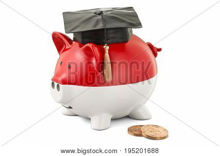 Savings for education in Indonesia concept 3D rendering isolated on white background
