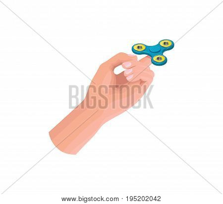 Hand holding, playing and making tricks with fidget spinner, isometric vector illustration with colorful anti-stress toys or gadgets