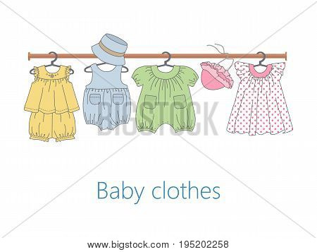 Rack with baby clothes on hangers. Vector flat illustration.