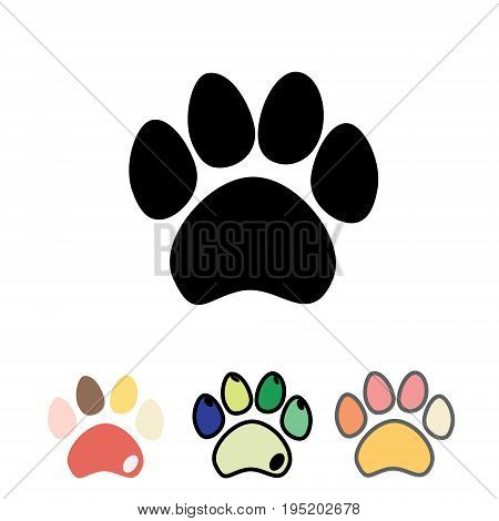 Cats or dogs paws set. Cute funny silhouette of animal footprints on white background. Vector illustration.
