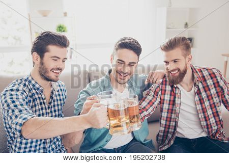 Bachelor Men`s Life. Close Up Portrait Of Three Happy Men Friends, Clinking With Glasses Of Beer, Sm