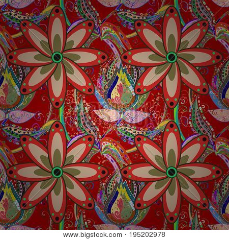 Flowers on colorful background in watercolor style. Seamless floral pattern with flowers on colorful background.