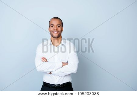 Successful Smiling Young Handsome Mulatto American Guy Banker In Formal Outfit On Pure Background Wi