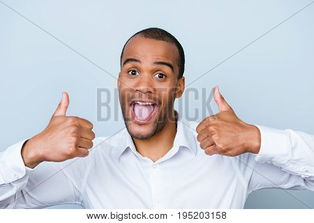 Cheerful Successful African Employer Is Showing Thumbsup On A Pure Background, In Formal Wear With W