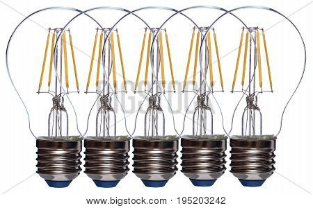 Row of five LED bulbs isolated on white background.