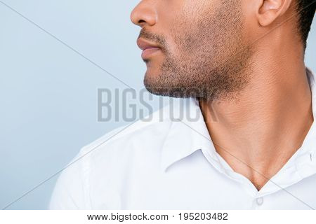 Cropped Profile Photo Of Mulatto American Business Guy In White Formal Outfit On Pure Blue Backgroun