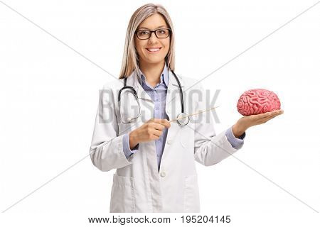 Female doctor pointing at a brain model with a stick isolated on white background