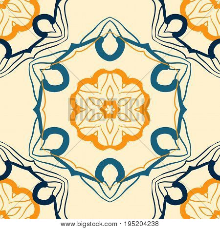 Indian Seamless mandala pattern for printing on fabric or warping paper. Hand drawn symmetry background. Colorful, bright oriental ottoman islamic print.