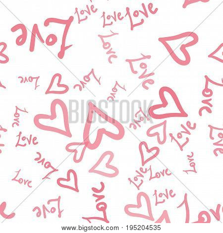 Pink hearts vector seamless pattern with hand painted words love. Valentines day wrapping paper or wedding invitation card background in pink and white color