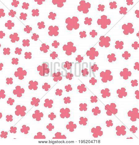 Stylized Pink Flowers Print on White. Seamless Pattern.