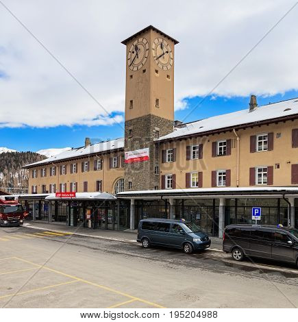 St. Moritz, Switzerland - 3 March, 2017: buiding of the St. Moritz railway station. St. Moritz is an alpine resort and a munitipality in the Engadin region of the Swiss canton of Graubunden.