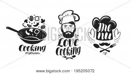 Cooking, cuisine logo. Label set for design menu restaurant or cafe. Vector illustration isolated on white background