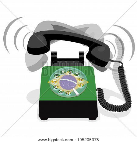 Ringing black stationary phone with rotary dial and flag of Brazil. Vector illustration.