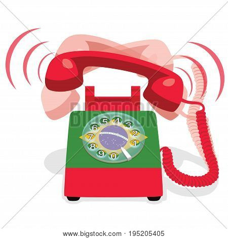 Ringing red stationary phone with rotary dial and flag of Brazil. Vector illustration.