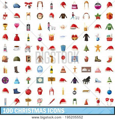 100 christmas icons set in cartoon style for any design vector illustration