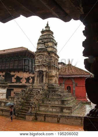 KATHMANDU, BHAKTAPUR, NEPAL. 30 September 2008:   The stone Siddhi Lakshmi Temple, also known as Lohan Dega. Durbar Square in Bhaktapur, Kathmandu valley