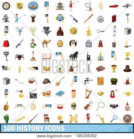 100 history icons set in cartoon style for any design vector illustration