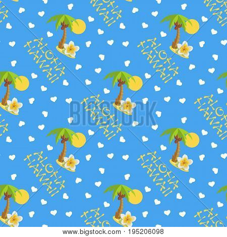 Vector illustration seamless pattern. Tropical island with palm tree and lettering Aloha Hawaii .