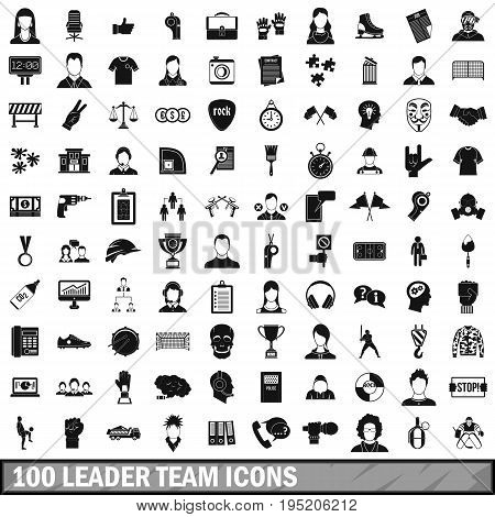 100 leader team icons set in simple style for any design vector illustration