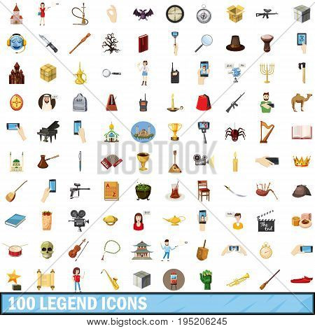 100 legend icons set in cartoon style for any design vector illustration