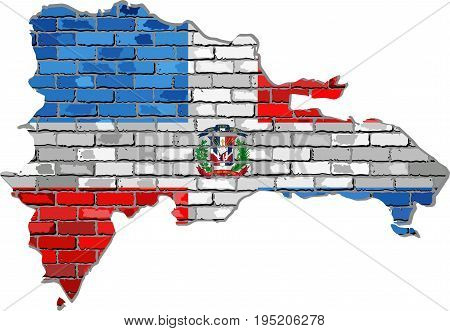 Dominican Republic map on a brick wall - Illustration,   Dominican Republic map with flag inside