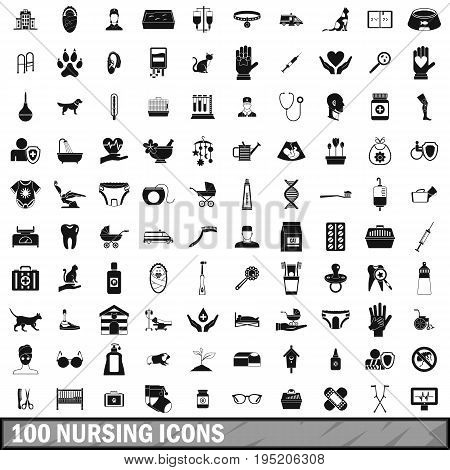 100 nursing icons set in simple style for any design vector illustration