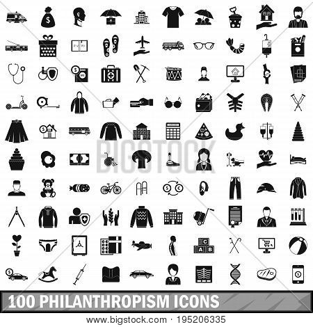 100 philanthropism icons set in simple style for any design vector illustration