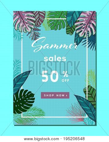 Set of summer sale banners, posters with tropical leaves, summer sale trendy design, vector illustration. Summer sale background layout for banners, Wallpaper, flyers, invitation, posters, brochure, voucher discount.Vector illustration template.