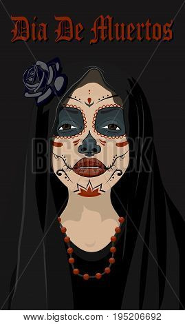 Mexican girl in tattoo style with traditional make-up